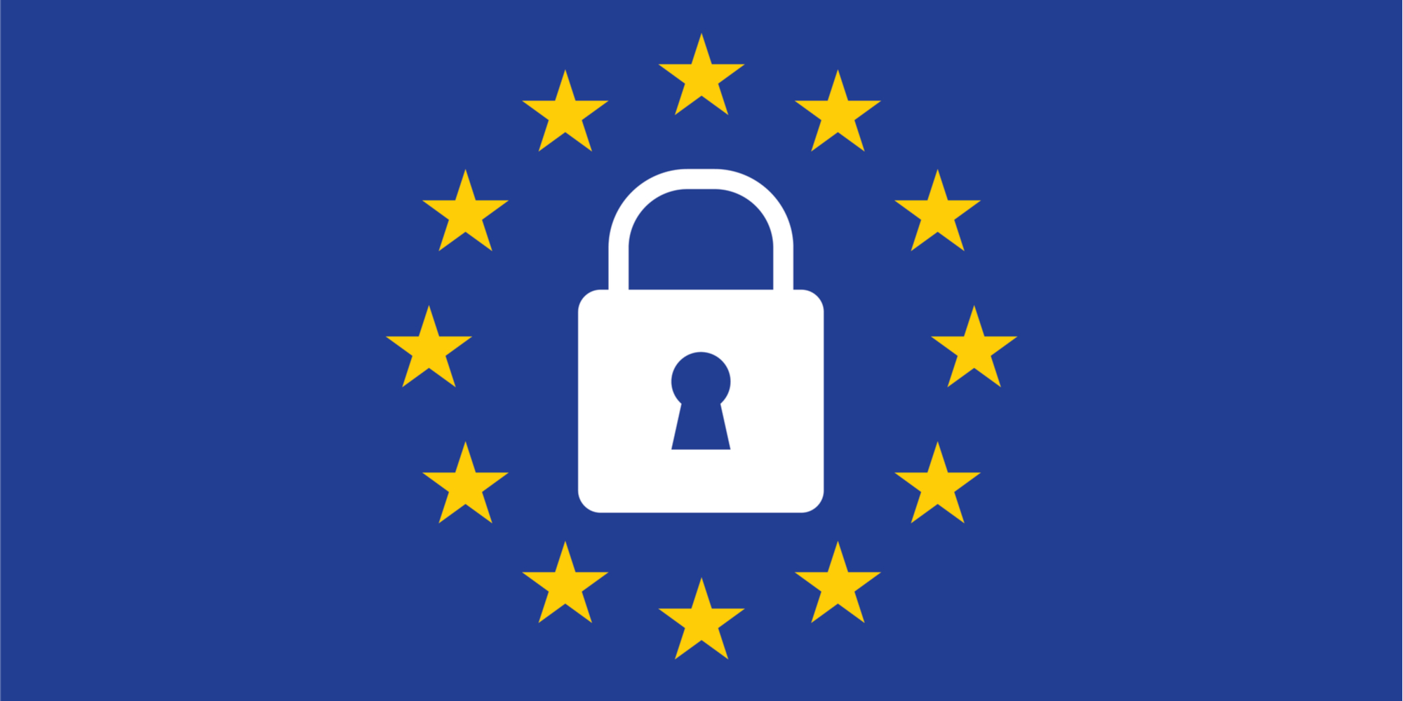 lock surrounded by EU flag stars